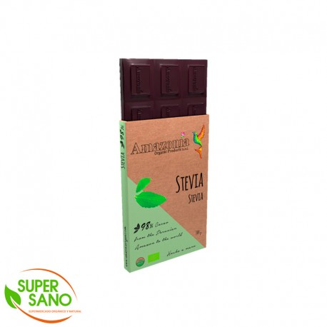 CHOCOLATE DARK 98% CON STEVIA - 100 GR - AMAZONIA ORGANIC PRODUCTS