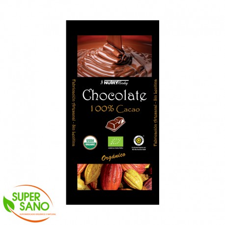 CHOCOLATE ORGÁNICO - BARRA 100% - 100 GR - NUTRY BODY